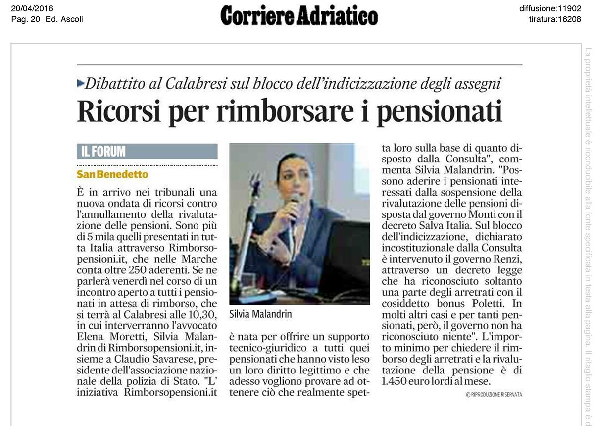 Articolo sul Corriere Adriatico