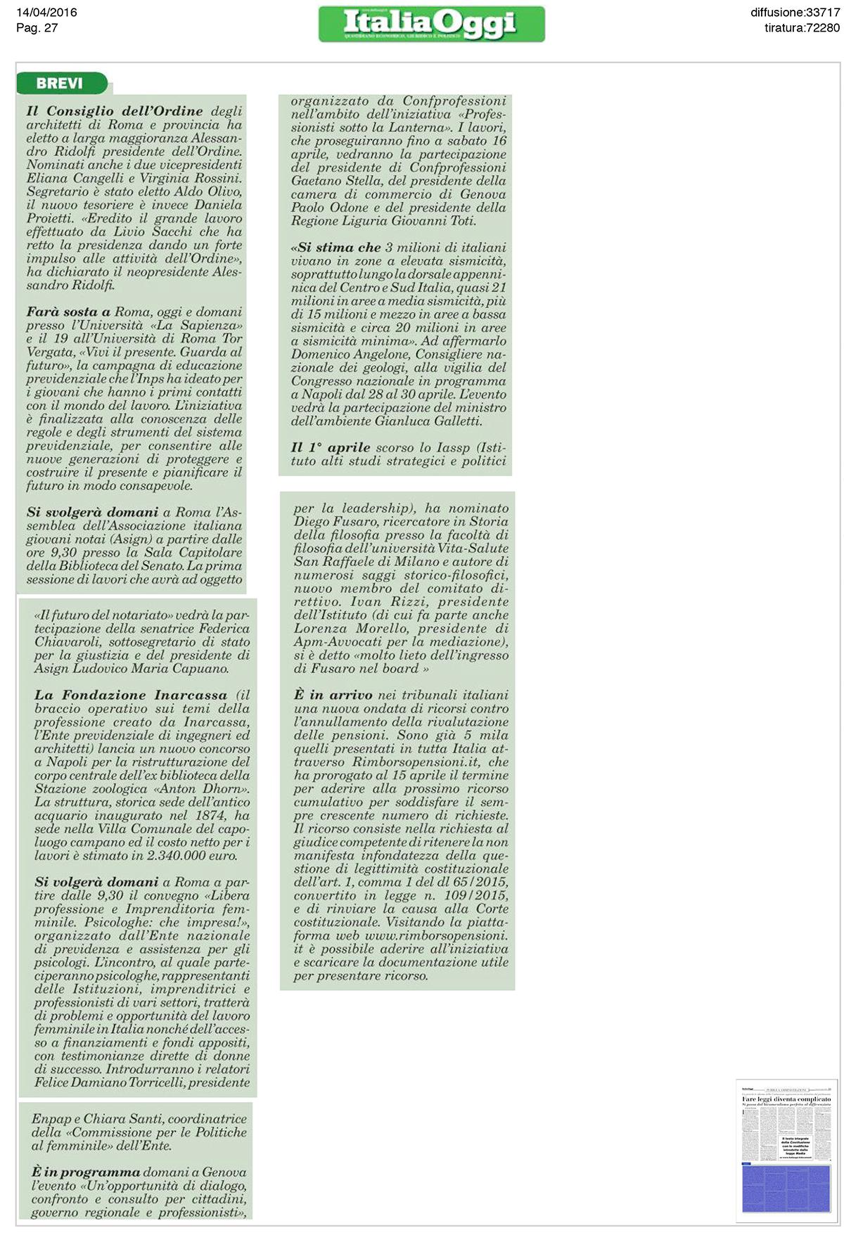 Articolo su Italia Oggi