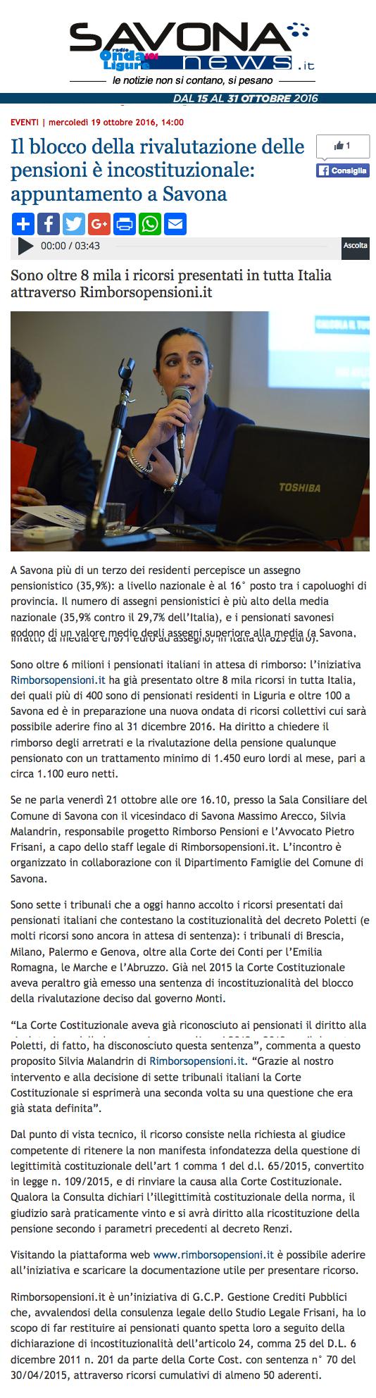 Articolo su Savona News