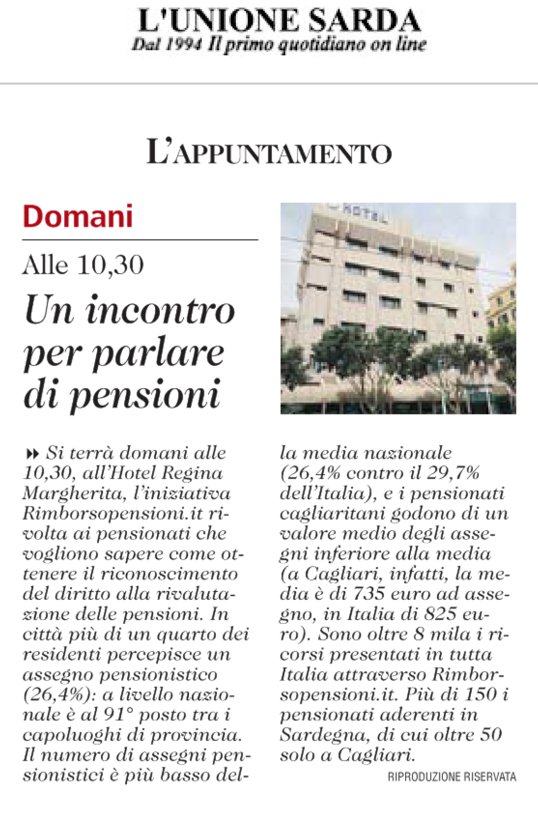 Articolo pensioni Unione Sarda