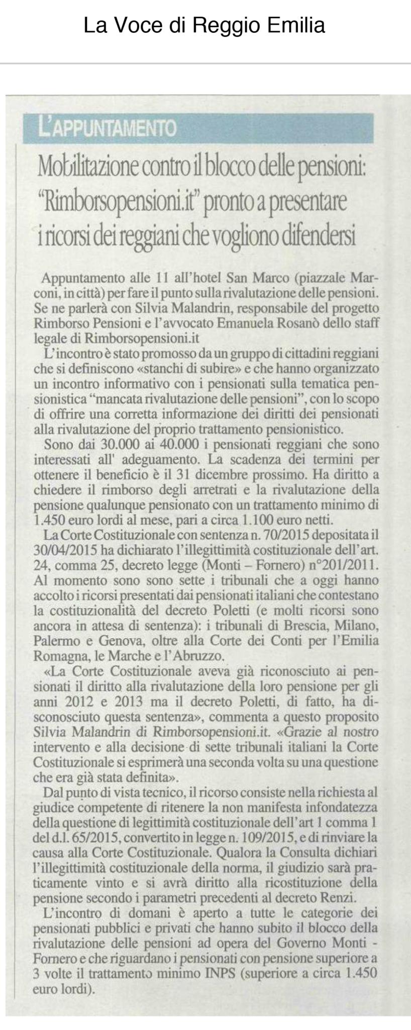Articolo de La Voce di Reggio