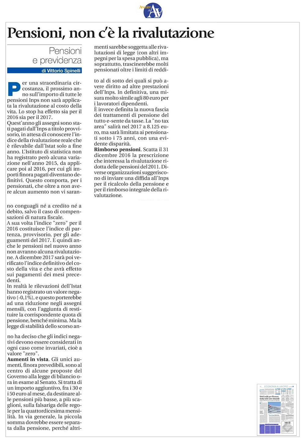 Articolo su Avvenire rivalutazione pensioni