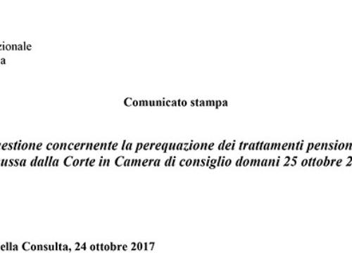 Comunicato stampa della Corte Costituzionale