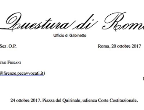 Attenzione: comunicazione Questura di Roma per udienza 24 ottobre